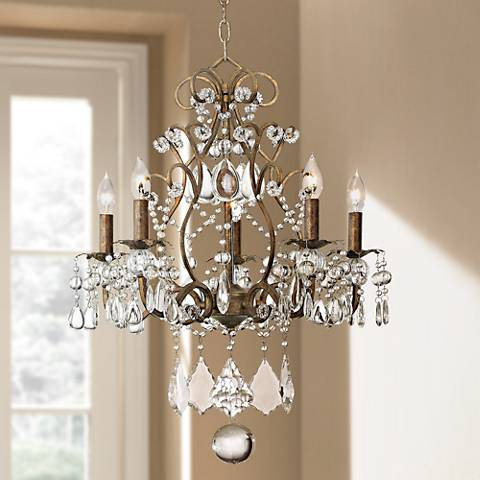 "Jolie Five Light 19 1/2"" Wide Crystal Beaded Chandelier"