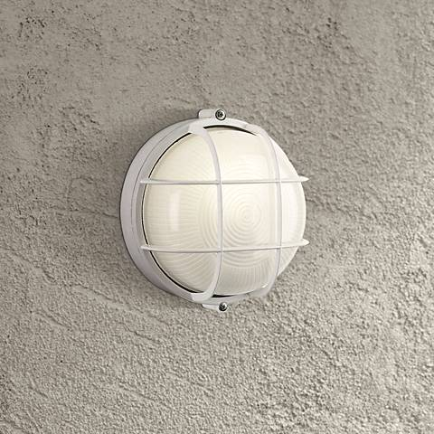 "Nauticus Collection 7"" Round White Outdoor Wall Light"