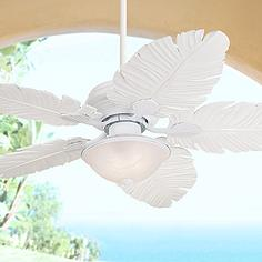 White ivory tropical ceiling fans lamps plus 52 aloadofball Image collections