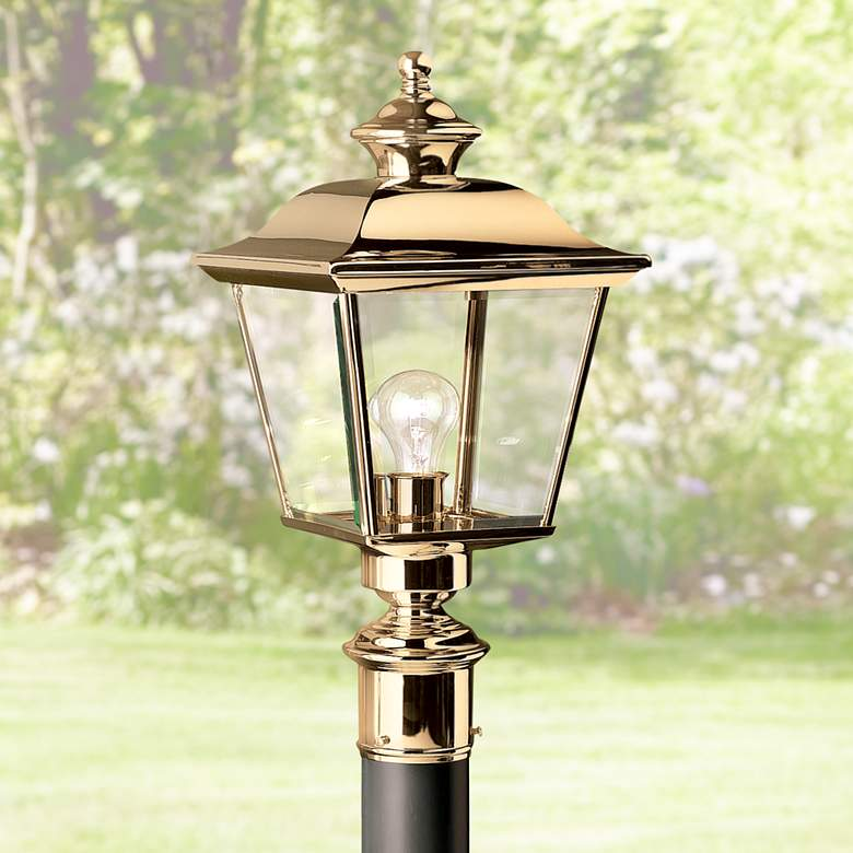 "Kichler Solid Brass 22"" High Outdoor Post Light"