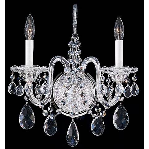 "Schonbek Sterling 16 1/2"" High Heritage Crystal Wall Sconce"