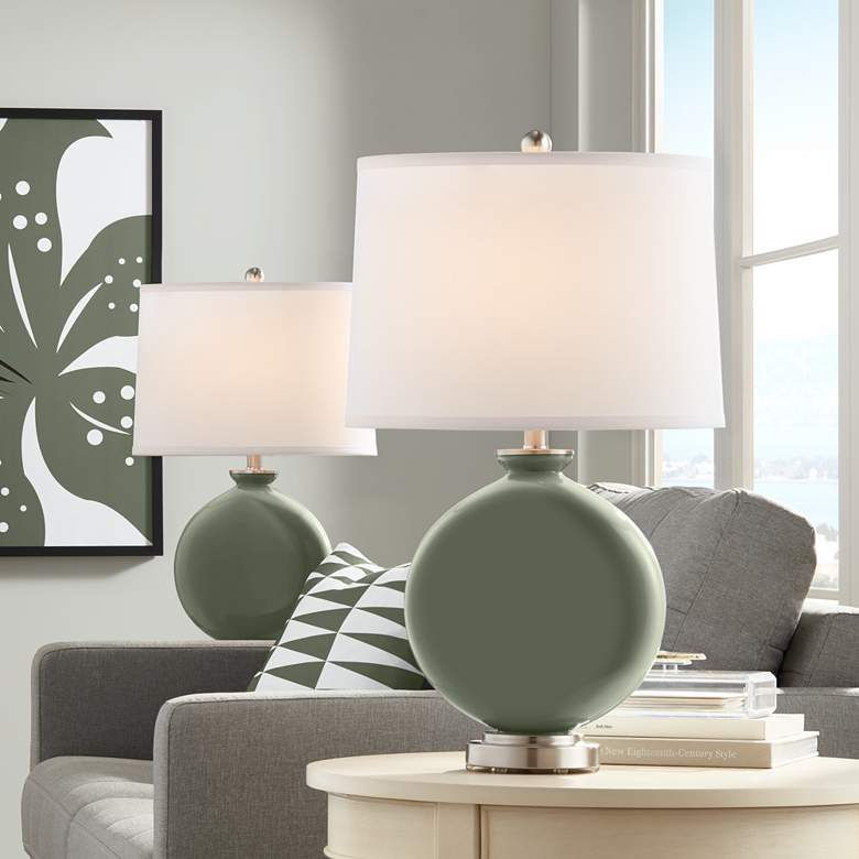 Deep Lichen Green Carrie Table Lamp Set of 2