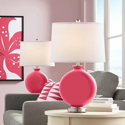 Eros Pink Carrie Table Lamp Set of 2