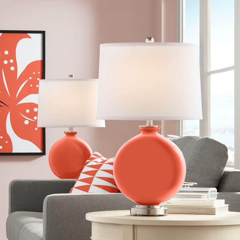 Daring Orange Carrie Table Lamp Set of 2