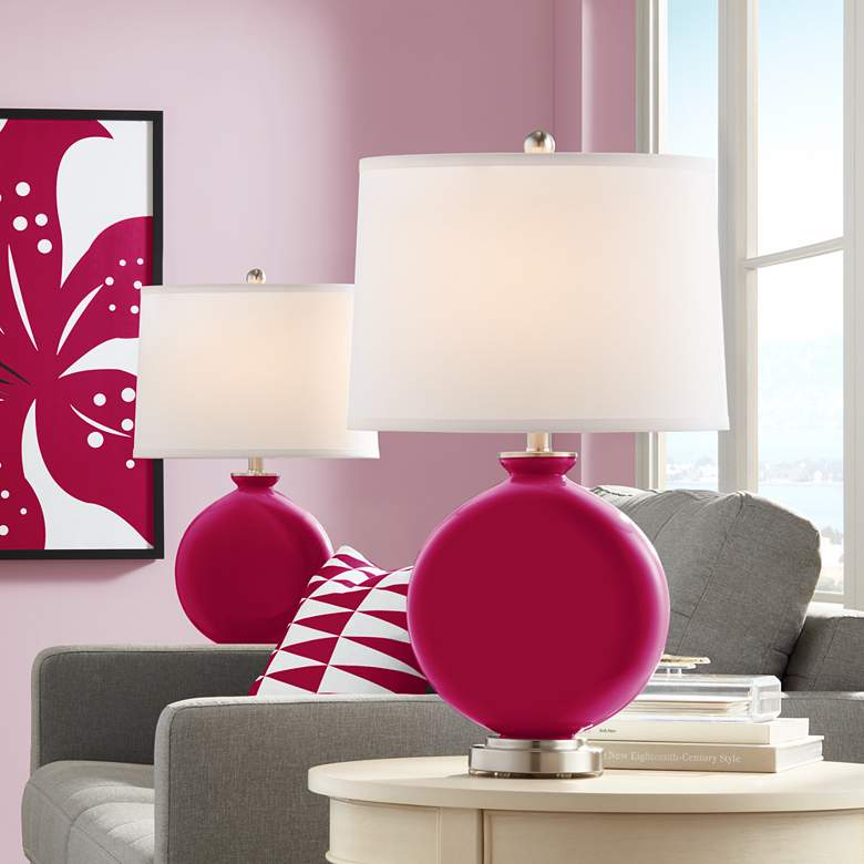 French Burgundy Carrie Table Lamp Set of 2