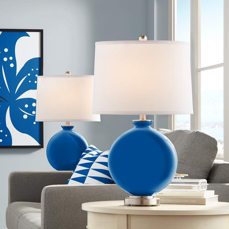 Hyper Blue Carrie Table Lamp by Color Plus