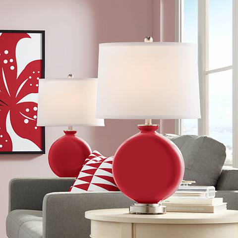 Ribbon Red Carrie Table Lamp Set of 2