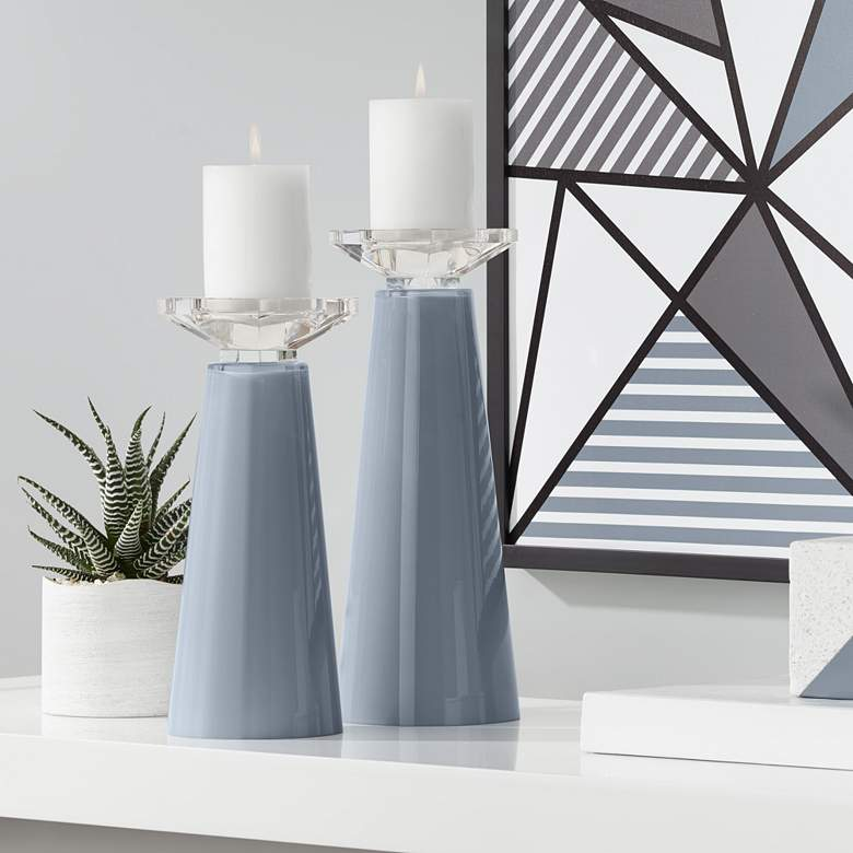 Meghan Granite Peak Glass Pillar Candle Holder Set of 2