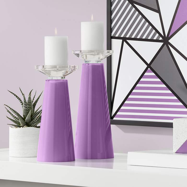 Meghan Passionate Purple Glass Pillar Candle Holder Set