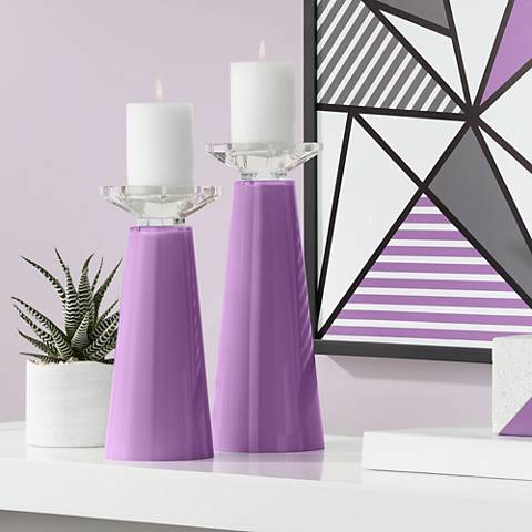 Meghan Passionate Purple Glass Pillar Candle Holder Set of 2