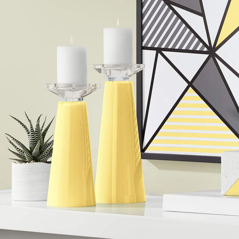Daffodil Yellow Meghan Glass Candle Holders Set of