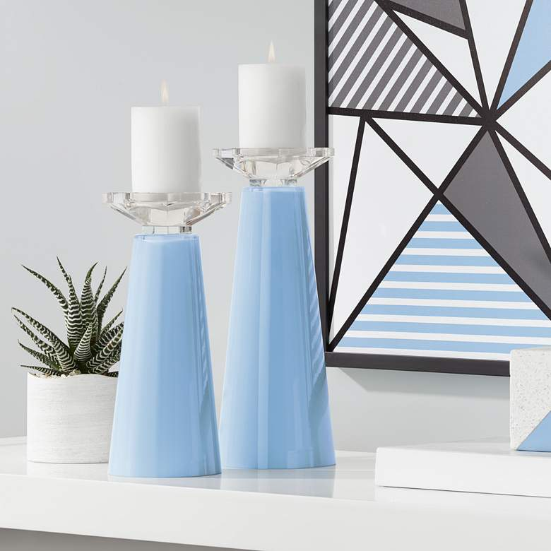 Meghan Placid Blue Glass Pillar Candle Holder Set