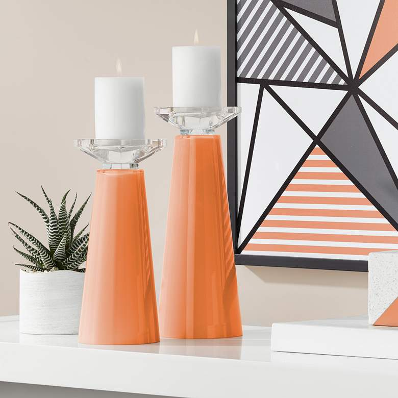 Meghan Celosia Orange Glass Pillar Candle Holders Set of 2