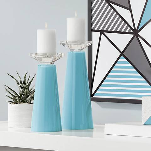 Meghan Nautilus Glass Pillar Candle Holder Set of 2