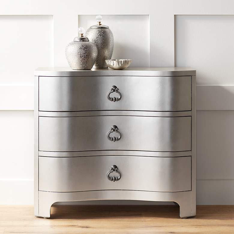"City Lights 34"" Wide 3-Drawer Champagne Silver Leaf"