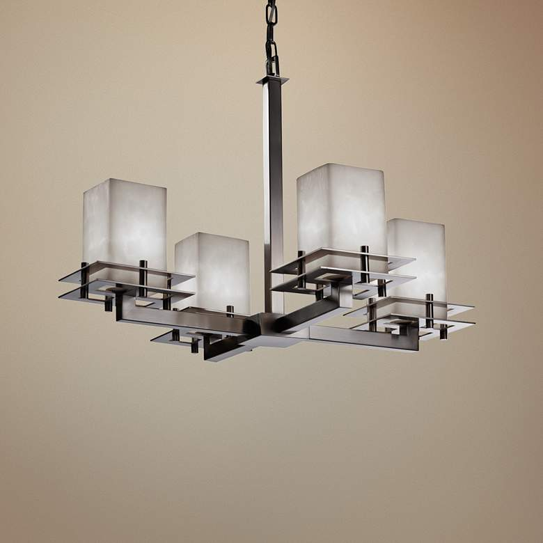 "Clouds™ Metropolis 25""W Brushed Nickel 4-Light Chandelier"