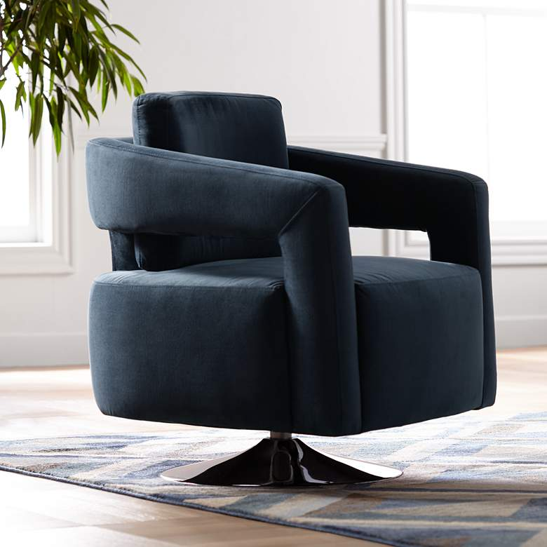 Turbo Slate Blue Open Arm Swivel Chair
