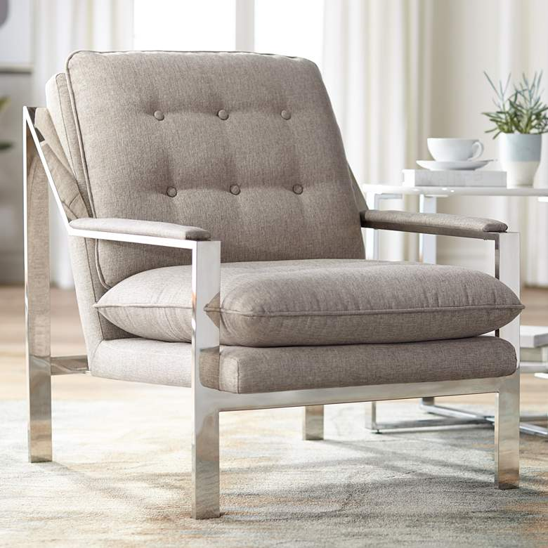 Cypress Tufted Gray-Beige Fabric and Chrome Lounge Chair