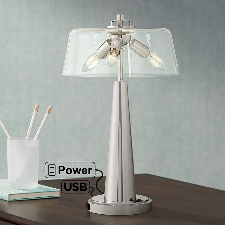 Cagna Modern Led Table Lamp With Usb Port And Outlet