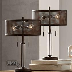 Dayn Industrial USB Table Lamps with LED Bulbs - Set of 2