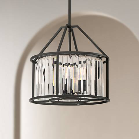 "Possini Euro Suspira 15""W Black and K9 Crystal Pendant Light"
