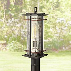 "San Marcos 20 1/2"" High Black and Copper Outdoor Post Light"