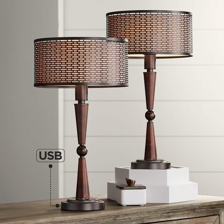 Hunter Bronze Modern USB Accent Table Lamps Set of 2