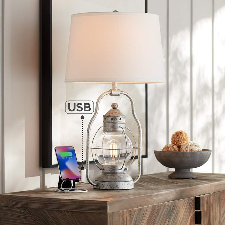 Bodie Lantern Night Light LED Table Lamp with USB Port