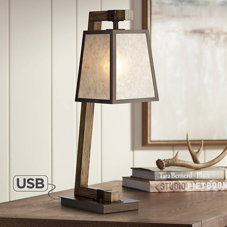 Tribeca Mica Shade Metal Table Lamp with USB Port