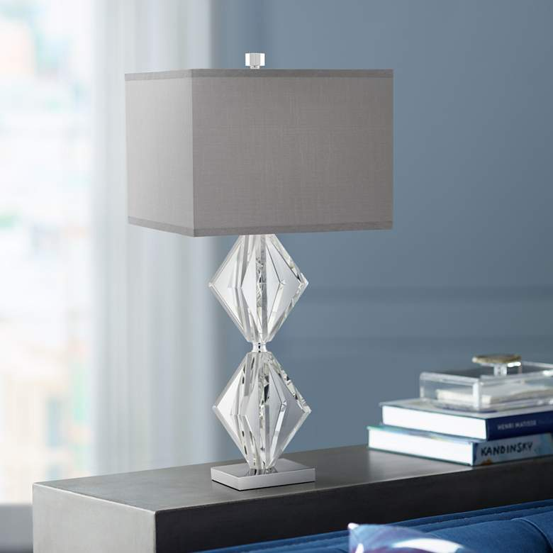 Eileen Crystal Table Lamp with Gray Shade