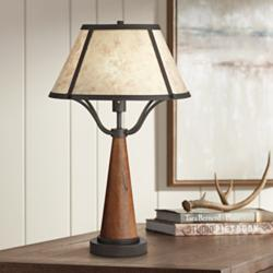 Idyllwild Warm Wood Mica Shade Rustic Table Lamp