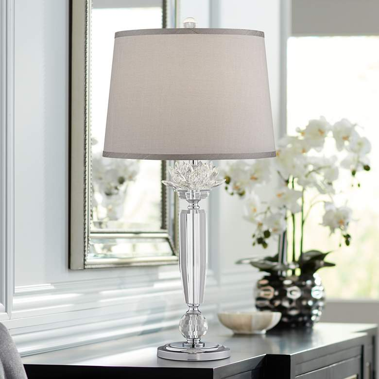 Olivia Crystal Table Lamp with Gray Shade