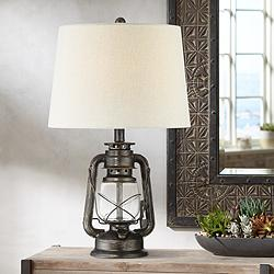 Murphy Weathered Bronze Miner Lantern Table Lamp