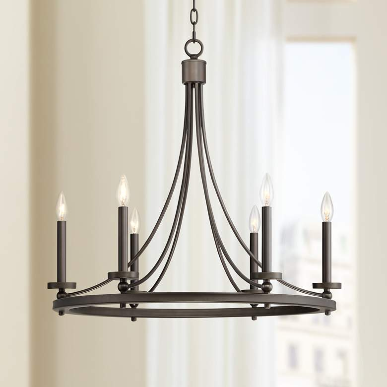 "Arianne 27 1/2"" Wide Bronze Metal 6-Light Chandelier"