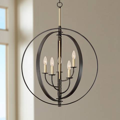 "Rialto 24 3/4""W Bronze and Warm Brass 5-Light Orb Pendant"