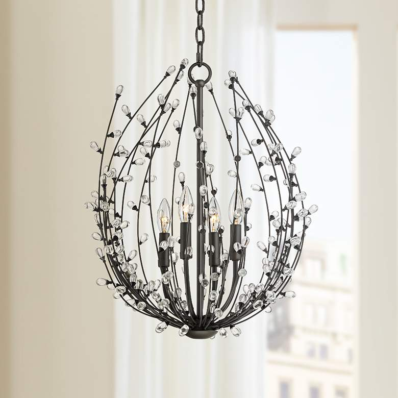 "Rima 17 1/2"" Wide Bronze 4-Light Blooming Pendant Light"