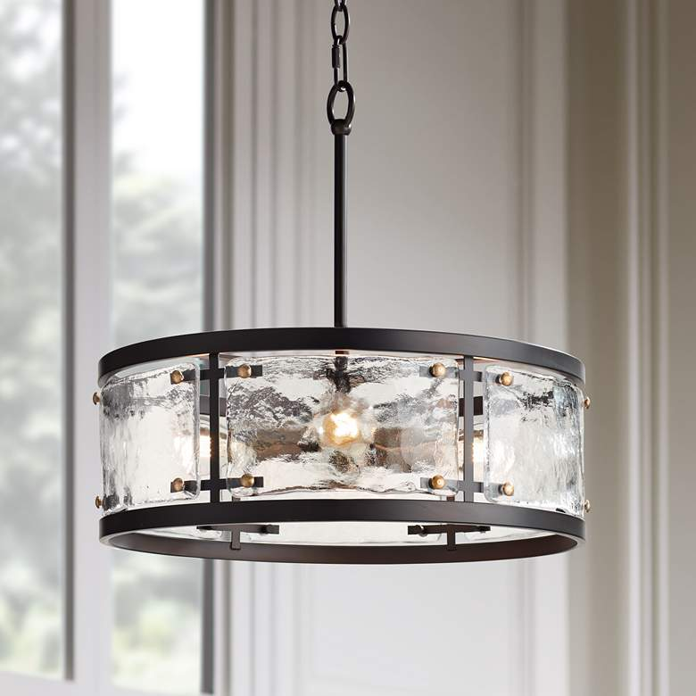 "Campanelli 19"" Wide Bronze and Brass Drum Pendant Light"