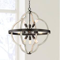 "Paxton 28"" Wide Black and Gray Wood 9-Light Sputnik Pendant"