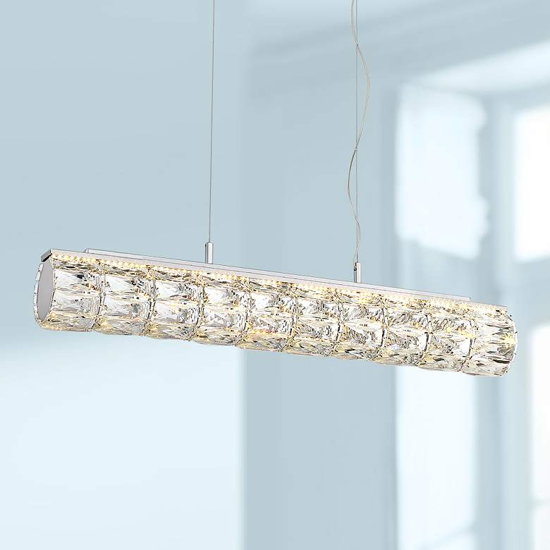 "Possini Euro Gigi 30"" Wide Chrome LED Island Pendant"
