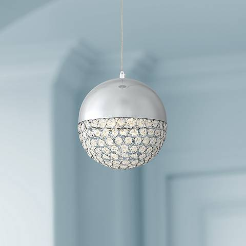 "Possini Euro Gigi 8"" Wide Chrome LED Crystal Mini Pendant"