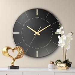 "Liyana Black and Gold 17 3/4"" Round Wall Clock"