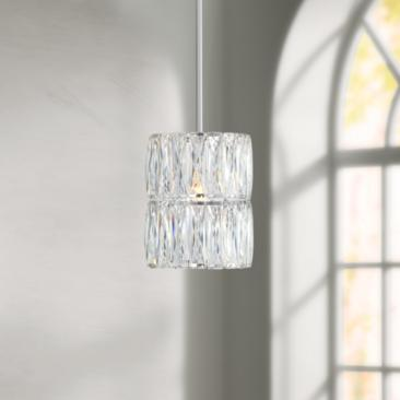 "Juliette 7 3/4"" Wide Chrome and K9 Crystal Mini Pendant"