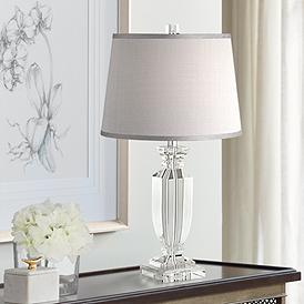 Sherry Crystal Table Lamp With Gray Shade