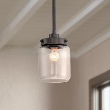 "Hickory 6"" Wide Bronze and Clear Glass Mini Pendant"