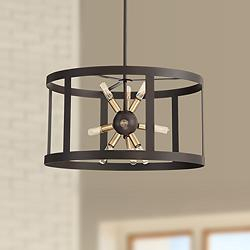 "Fargo 22"" Wide Forged Iron and Warm Brass 9-Light Pendant"