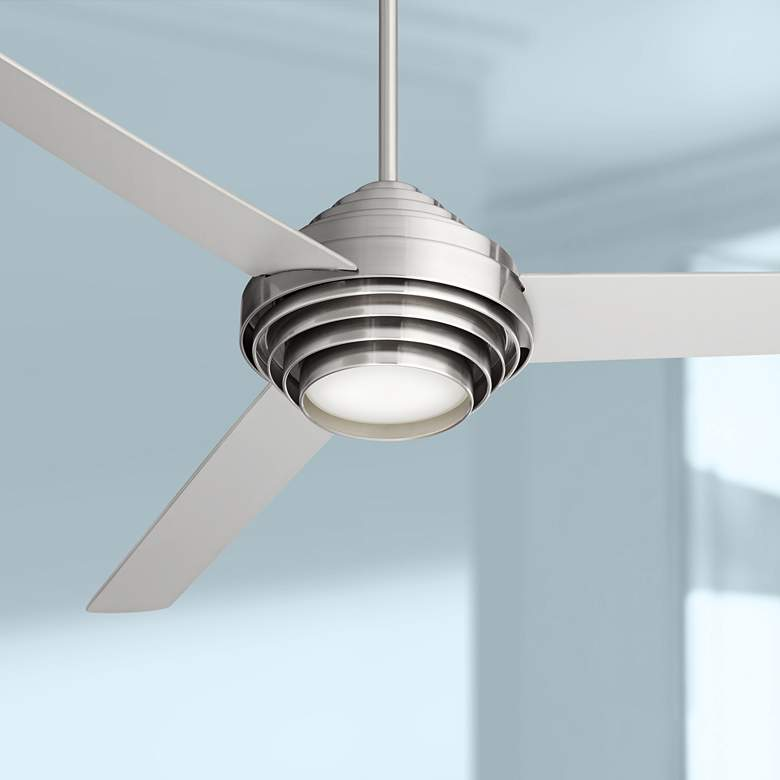 "60"" Casa Vieja® Devo Brushed Nickel LED Ceiling Fan"