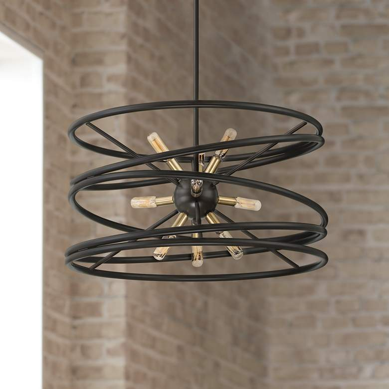 "Genoise 22""W Spindle Bronze and Warm Brass 9-Light Pendant"