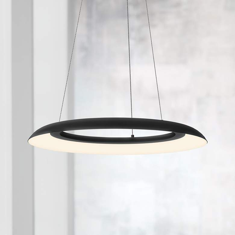 "Sonneman Torus™ 24"" Wide Satin Black LED Pendant"