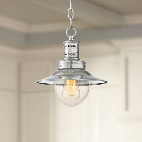 "Starbird 9 1/2"" Wide Chrome with Clear Glass Mini Pendant"