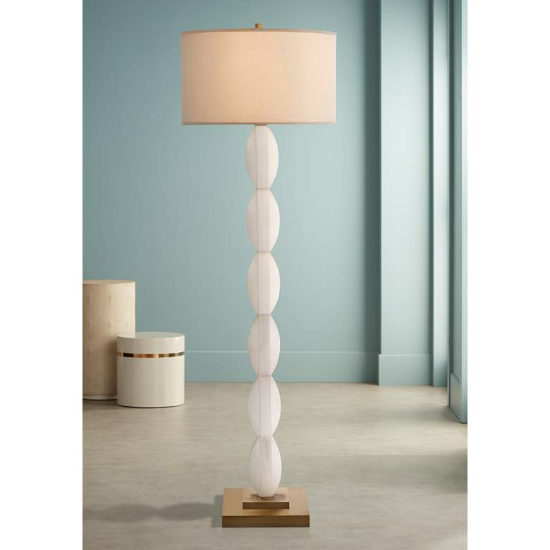 John Richard Criss-Cross Stacked White Alabaster Floor Lamp